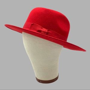 Burberry Red Wool Fedora With Bow